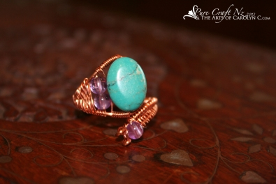 Turquoise & Amethyst Wirewrapped Copper Ring