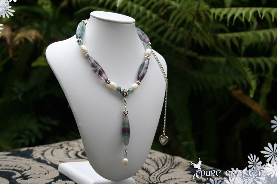 Rainbow Fluorite & Baroque Pearl Necklace