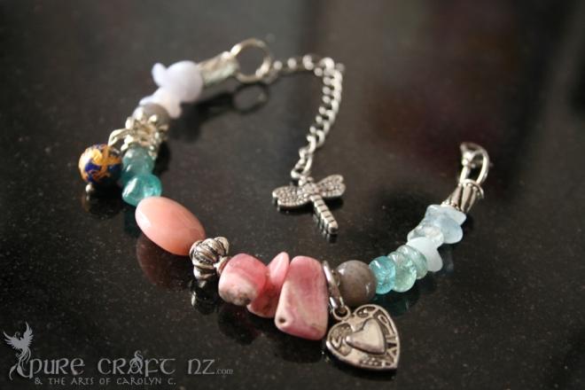 Pink Opal & Blue Fluorite Cold, Flu & Hay Fever Bracelet  - $40.00