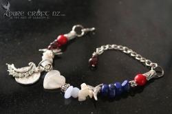 Mother of Pearl, Garnet & Lapis Lazuli Cold, Flu & Hay Fever Bracelet  - $45