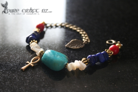 Turquoise, Lapis, Mother of Pearl and Red Coral Protection & Good Fortune Bracelet