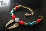 Turquoise & Red Coral Protection & Good Fortune Bracelet  - $55.00