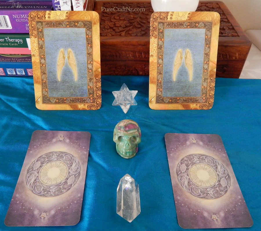 Healing with the Angels Oracle, and the Shadowscapes Tarot.  Click to view a bigger image