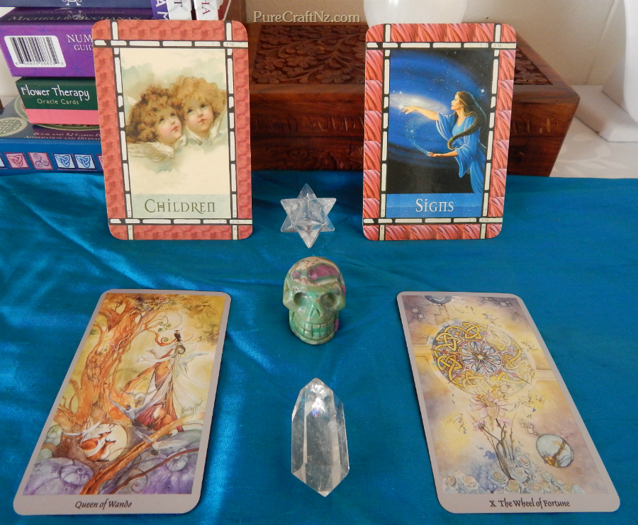 Healing with the Angels Oracle, and the Shadowscapes Tarot.  Click to view a larger image.